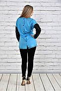 Женская туника на осень 0317 цвет голубой до 74 размера, фото 3