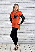 Женская туника на осень 0317 цвет оранжевый до 74 размера, фото 2