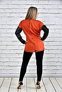 Женская туника на осень 0317 цвет оранжевый до 74 размера, фото 3