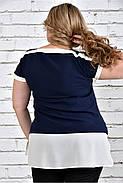 Женская блуза короткий рукав 0315 цвет синий до 74 размера, фото 3