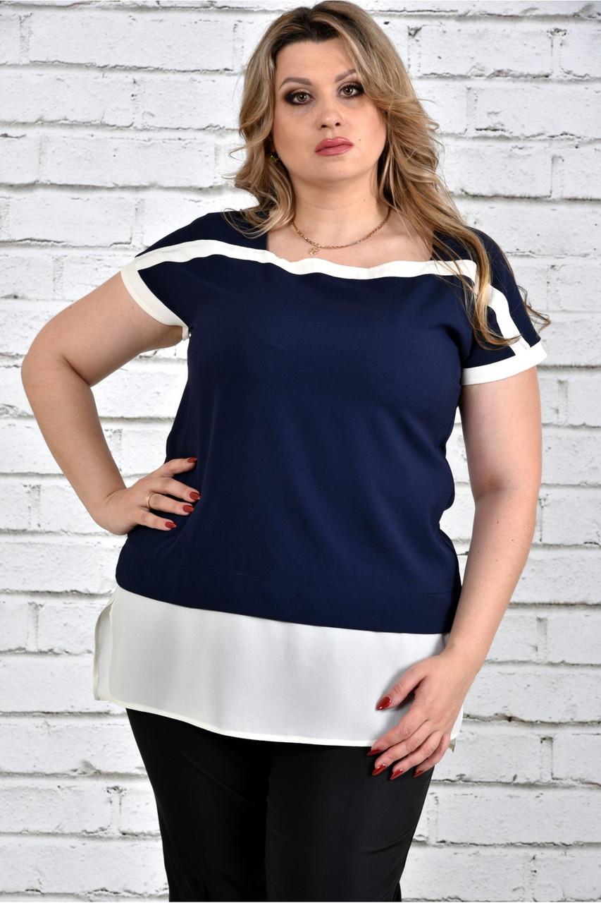 Женская блуза короткий рукав 0315 цвет синий до 74 размера