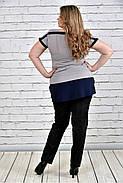 Женская блуза короткий рукав 0315 цвет серый до 74 размера, фото 3