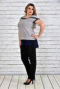 Женская блуза короткий рукав 0315 цвет серый до 74 размера, фото 2