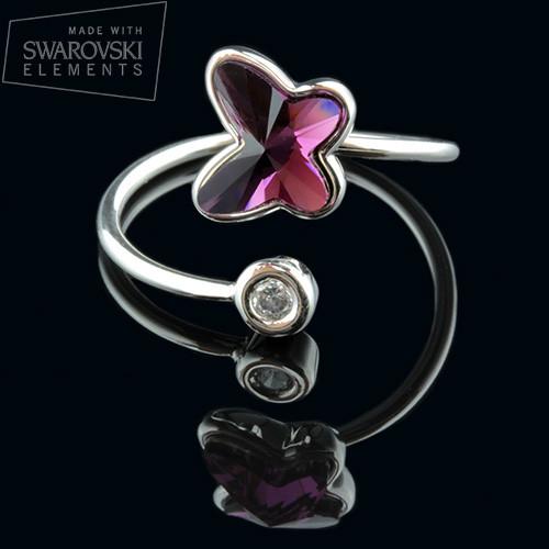 011-0020 - Нежное кольцо с кристаллом Swarovski Butterfly Crystal Amethyst родий, размеры в описании - Kelta™ - ювелірна біжутерія гуртом в Львове