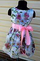 Летнее платье  для девочки с кружевом