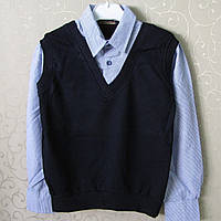 """Двойка -обманка """"Blueland"""",128-164 см,Турция. Рубашки для мальчиков, школьная форма , обманки"""