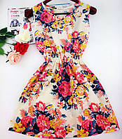Платье сарафан летний Бежевый Нежность цветы, фото 1