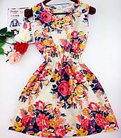 Платье сарафан летний Бежевый Нежность цветы