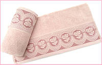 Махровое полотенце   Arya  Bella пудра 70х140