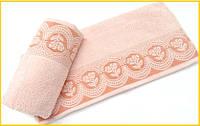Махровое полотенце   Arya  Bella персиковое 70х140