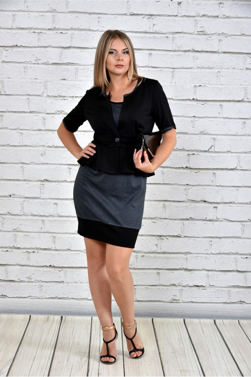Женский жакет баска 0305 цвет черный до 74 размера