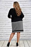 Женский классический жакет 0310 цвет черный до 74 размера, фото 4