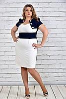 Женское красивое платье короткий рукав 0308 цвет бело синий до 74 размера / большие размеры