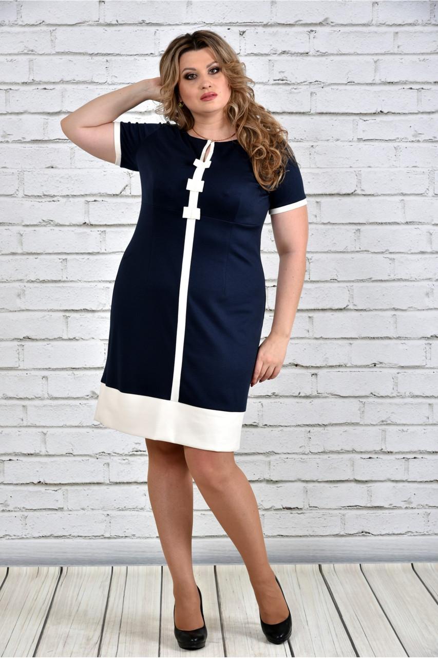 Женское стильное платье 0307 цвет белый до 74 размера / большие размеры