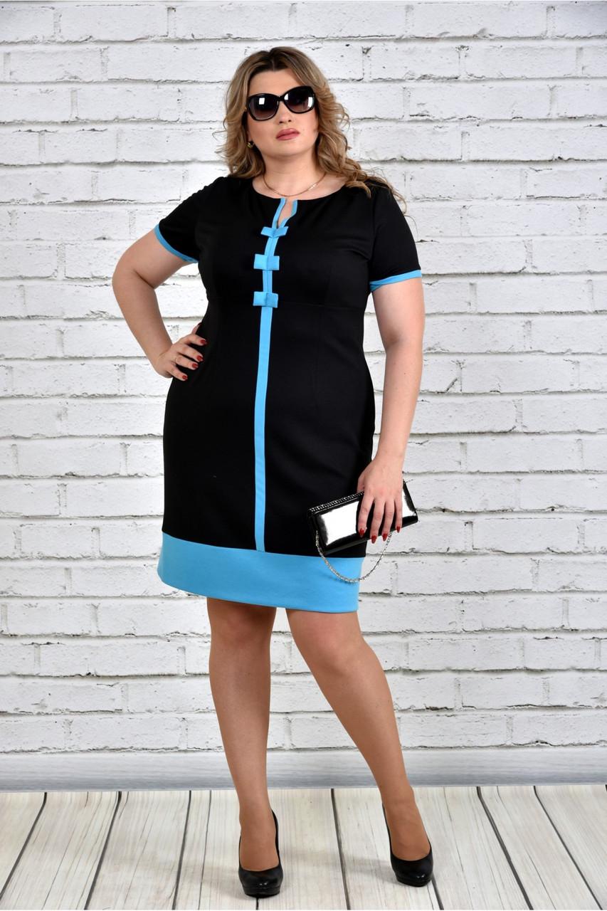 Женское стильное платье размера 0307 цвет голубой до 74 размера / большие размеры