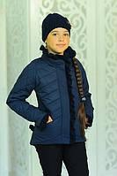Демисезонная курточка Одри без капюшона в комплекте с шапкой цвета  джинс