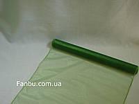 Органза флористическая на метраж,цвет темно зеленый(ширина 47см)
