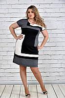Женское красивое платье 0302 цвет серый до 74 размера / большие размеры