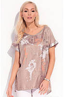 Женская блуза цвета капучино с коротким рукавом| Kloe Zaps
