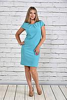 Женское платье со змейкой 0300 цвет голубой до 74 размера