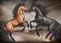 Схема для вишивки бісером коні Танець в пустелі