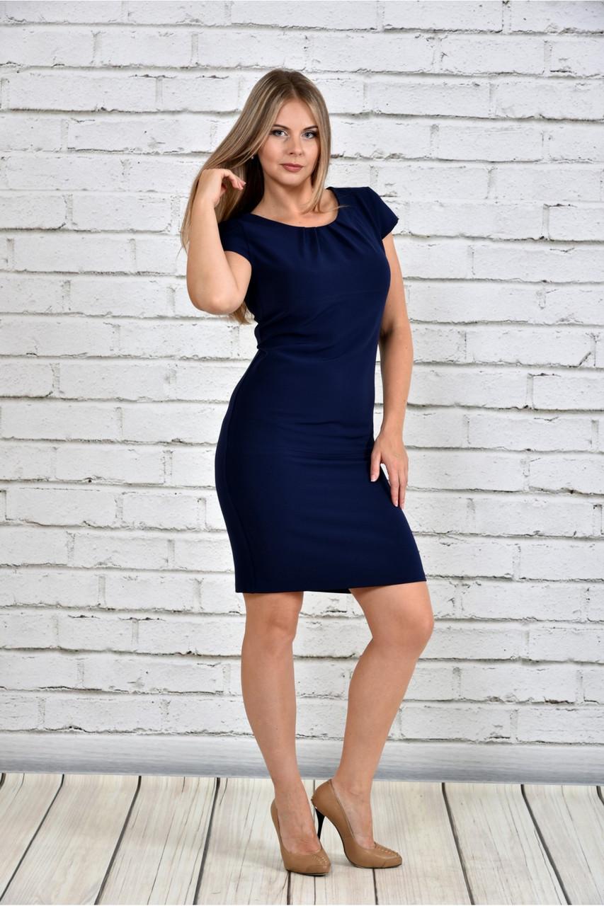 Женское платье со змейкой 0300 цвет синий до 74 размера / большие размеры