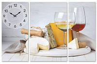 Часы настенные на холсте Белое вино 68*45см