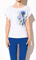Женская футболка белого цвета с коротким рукавом  | Sandi  Zaps