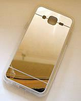 Зеркальный золотой силиконовый чехол для Samsung Galaxy J5, фото 1
