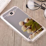 Зеркальный силиконовый чехол светлое серебро для Samsung Galaxy J5, фото 1