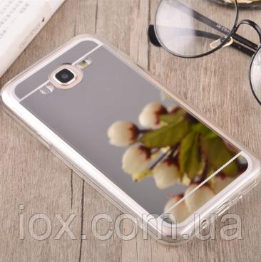 Зеркальный силиконовый чехол светлое серебро для Samsung Galaxy J5