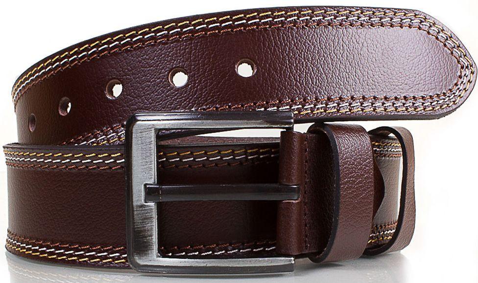 Мужской кожаный ремень для джинс 4,6 см Ysk коричневый
