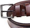 Мужской кожаный ремень для джинс 4,6 см Ysk коричневый, фото 3