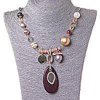 Ожерелье Жемчужное Поле, декор - бусины, металл и дерево
