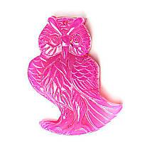 Кулон Мудрая Сова натуральный камень Розовый Кварц 5х3см
