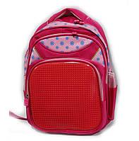 """Рюкзак школьный розовый девочка  (30х40 см) серии """"UPIXEL""""  цветочки с карманом LEGO яркий"""