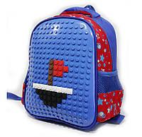 """Рюкзак садик LEGO мальчик  синий  (20х25 см) серии """"UPIXEL""""  звездочка принт , с карманом  стильный"""