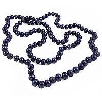 Жемчуг черный, темно-фиолетовый оттенок (dark purple pearl), бусы