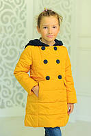 Демисезонная курточка Луиза с вязаным капюшоном желтая