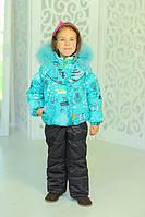 Зимний комплект Девочка с принтом. Натуральный мех