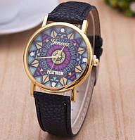 Часы Женева Geneva Узор черный ремешок