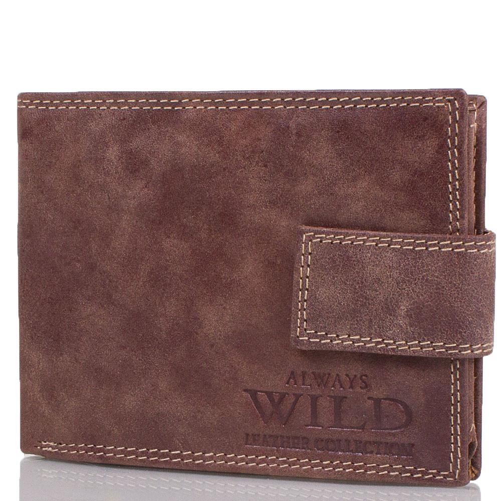 Практичный мужской кошелек из натуральной кожи ALWAYS WILD (ОЛВЕЙС ВАЙЛД) DNKN992L-MCR-brown коричневый