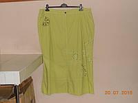 Зеленая юбка из хлопка больших размеров, фото 1