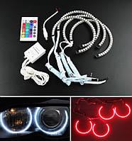 Ангельские глазки LED RGB (диодные многоцветные) 16 цветов для BMW E46 non projektor