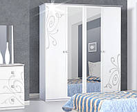 Шкаф 4Д3 Фелиция Новая белый лак (Світ Меблів TM)
