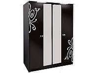 Шкаф 4Д3 Фелиция Новая черный лак (Світ Меблів TM)