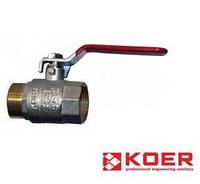 Шаровый кран для воды 1*1/ 4 гайка - штуцер ручка ГШР (16 шт) - Koer