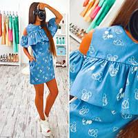 Платье с открытыми плечами и воланом джинс в разных расцветках SMs519
