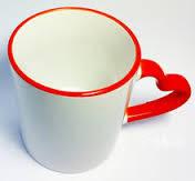 Чашка для сублимации белая цветной ободок и ручка Love (красный)