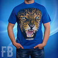 3D футболка леопард / Leopard синяя,  серая,  черная, красная
